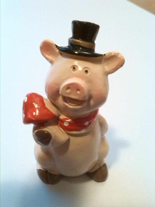 Glücksbringer Schwein mit Fliegenpilz und Zylinder