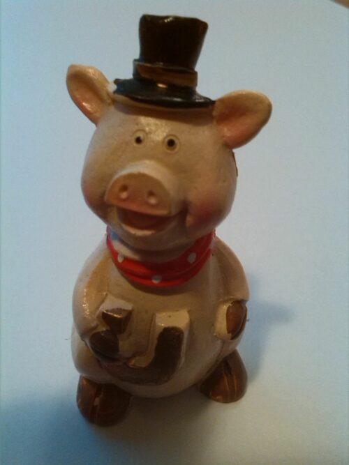 Glücksbringer Schwein mit Hufeisen und Zylinder